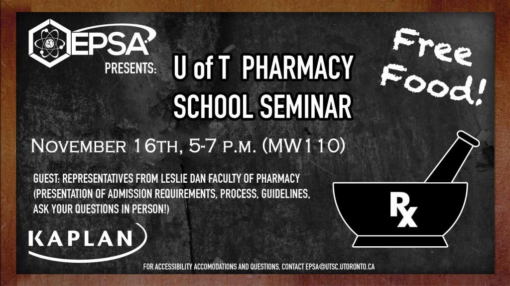 Pcat U Of T Pharmacy School Seminar Nov 16 5 7pm Mw110 The