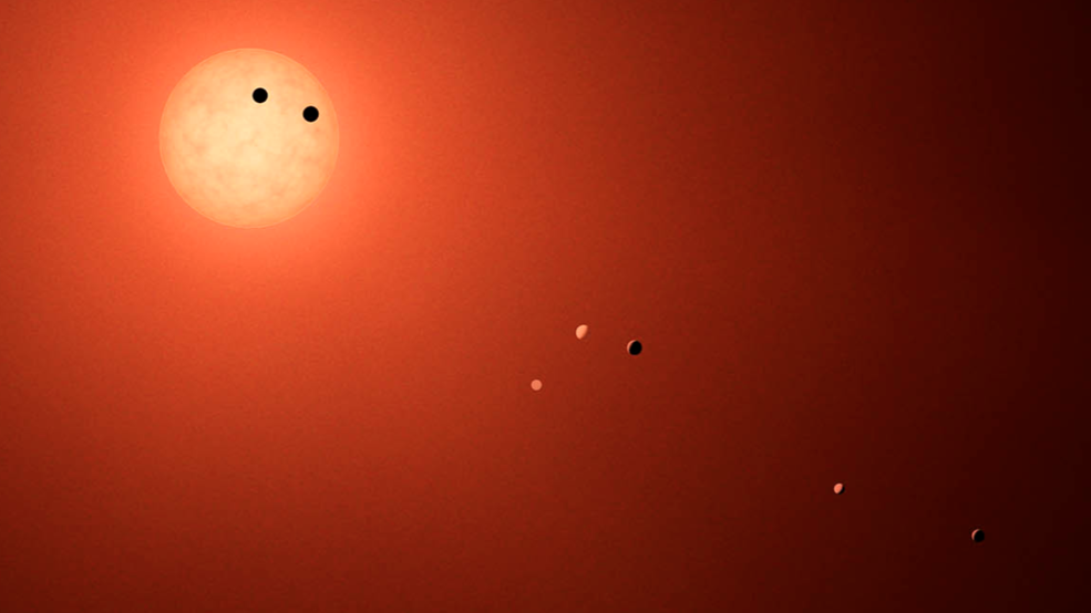 The TRAPPIST-1 system consists of seven Earth-sized planets orbiting a red dwarf star.